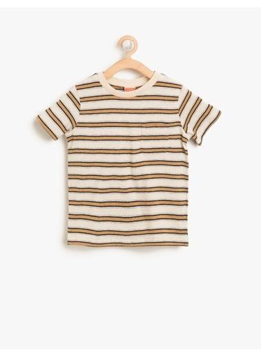 Koton Kids Çizgili T-Shirt Ekru